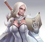 1girl armor book breasts cape cleavage dantewontdie gloves long_hair looking_away orange_eyes original shoulder_armor solo sword sword_behind_back weapon white_gloves white_hair