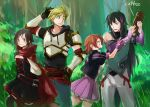 2boys 2girls armor black_hair blonde_hair blush brown_eyes brown_hair corset fingerless_gloves forest gloves gothic_lolita green_eyes hand_on_hip hooded_capelet jaune_arc jungle lie_ren lolita_fashion long_hair looking_at_viewer multiple_boys multiple_girls nature nora_valkyrie redhead ruby_rose rwby scratching_head short_hair sketch thermos tsuta_no_ha