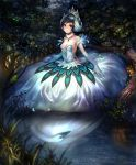 1girl artist_request ballerina beak bird black_hair blue_eyes breasts cleavage closed_mouth cygames different_reflection dress elbow_gloves feather_trim flower forest frog fur_collar gem gloves grass ladybug lake light_smile looking_at_viewer medium_breasts nature night odette_white_swan official_art outdoors reflection shadowverse shingeki_no_bahamut strapless strapless_dress swan tiara tree white_dress