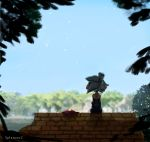 1girl black_dress blurry brick_wall cherry_blossoms commentary copyright_name day depth_of_field dress forest from_behind grey_hair hat highres hotaru_(splatoon) kashu_(hizake) nature outdoors pointy_ears purple_hat sitting sky splatoon splatoon_2 squidbeak_splatoon star_hat_ornament strapless strapless_dress tentacle_hair tree