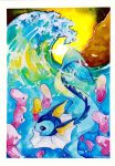 artist_name blue_eyes ears fish luvdisc ocean partially_submerged pikachoupi pokemon pokemon_(creature) pokemon_(game) pokemon_rgby pokemon_rse sunset tail vaporeon water watermark waves