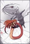 >:o 1girl :o absurdres arm_ribbon bangs boa_(4chan) boxing_gloves boxing_shorts crossover gloves hair_between_eyes hair_ornament highres lamia long_hair looking_at_viewer miia_(monster_musume) monster_girl monster_musume_no_iru_nichijou open_mouth pointy_ears pokemon pokemon_(creature) red_gloves redhead ribbon scales serious shorts snake_tail speed_lines sports_bra steam steelix very_long_hair yellow_eyes yellow_ribbon