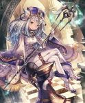 animal_ears artist_request cat cat_ears cat_tail checkered checkered_floor chess_piece cygames eyebrows_visible_through_hair fur_trim gloves hat high_heels legs_crossed long_hair looking_at_viewer official_art pants shadowverse shingeki_no_bahamut smile snow_whitecat_sage staff tail tight tight_pants white_hair wide_sleeves yellow_eyes