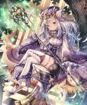 animal_ears artist_request bell cat cat_ears cat_tail checkered checkered_floor chess_piece corset cygames eyebrows_visible_through_hair fur_trim gloves hat high_heels legs_crossed long_hair looking_at_viewer magic official_art ribbon shadowverse shingeki_no_bahamut skindentation smile snow_whitecat_sage staff tail tail_ribbon thigh-highs white_hair wide_sleeves yellow_eyes