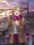 1girl beanie birthday blue_eyes coat dated feathers happy_birthday hat highres kousaka_honoka love_live! love_live!_school_idol_project orange_hair round_teeth scarf shamakho short_hair striped striped_scarf sunset teeth train_station winter_clothes winter_coat