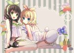 2girls :d :o animal anko_(gochiusa) aqua_eyes ass bangs bare_legs barefoot black_hair blonde_hair blunt_bangs braid breasts bunny_tail commentary_request copyright_name crown eyebrows_visible_through_hair flower frilled_shorts frills gochuumon_wa_usagi_desu_ka? green_eyes green_hairband hairband halter_top halterneck holding holding_animal kirima_sharo kneeling leaning_forward lipstick long_hair looking_at_viewer makeup maroya_togiyoru medium_breasts midriff mini_crown multiple_girls nail_polish_bottle navel open_mouth orange_hairband pajamas parted_lips petting rabbit shirt short_hair shorts single_braid sitting sleeveless sleeveless_shirt smile striped striped_hairband tail two-tone_background ujimatsu_chiya vertical-striped_background vertical_stripes wavy_hair white_shirt white_shorts wild_geese