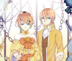1boy 1girl absurdres ahoge aku_no_meshitsukai_(vocaloid) aku_no_musume_(vocaloid) allen_avadonia blonde_hair blue_eyes bracelet brother_and_sister chains dress earrings evillious_nendaiki flower gradient_hair hair_flower hair_ornament hair_ribbon hairpin highres jacket jewelry kagamine_len kagamine_rin katana knife long_sleeves looking_at_viewer message_in_a_bottle mirror multicolored_hair nail_polish popped_collar re_birthday_(vocaloid) regret_message_(vocaloid) ribbon riliane_lucifen_d'autriche rose short_hair siblings smile sword twins vest vocaloid weapon yellow_nails yellow_rose
