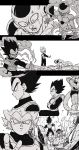 2boys absurdres armor back-seamed_legwear black_eyes black_hair crossed_arms dragon_ball dragon_ball_z_fukkatsu_no_f dragonball_z frieza frown gloves golden_frieza highres looking_at_another looking_at_viewer looking_away looking_back monochrome multiple_boys open_mouth outstretched_arms outstretched_hand seamed_legwear serious simple_background smile spiky_hair star super_saiyan_blue surprised tail tkgsize vegeta white_background