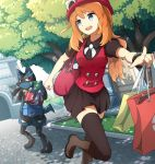 1girl :d black_legwear black_shirt black_skirt blue_eyes boots bracelet brown_boots day eyebrows_visible_throug_hair hat highres holding_bag index_finger_raised jewelry kent long_hair lucario miniskirt neck_ribbon one_leg_raised open_mouth orange_hair outdoors outstretched_arm pleated_skirt pokemon pokemon_(game) pokemon_xy ponytail red_hat ribbon serena_(pokemon) shirt skirt smile thigh-highs tree white_ribbon zettai_ryouiki