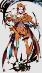 androgynous collarbone covered_navel deoxys full_body gloves grey_background heterochromia highres looking_at_viewer orange_gloves orange_hair personification pokemon solo standing zazaki