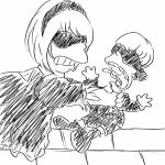 greyscale gudtn456 matt_groening_(style) md5_mismatch monochrome nier_(series) nier_automata parody replaceme sketch strangling style_parody the_simpsons yorha_no._2_type_b yorha_no._9_type_s