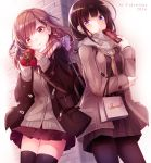 2girls argyle argyle_scarf bag bangs black_legwear black_skirt blush braid brown_eyes brown_hair brown_neckerchief brown_scarf cardigan closed_mouth coat duffel_coat enpera eyebrows_visible_through_hair gift grey_scarf hair_ornament haruka_natsuki heart heart-shaped_pupils holding holding_bag holding_gift jacket long_hair looking_at_viewer miniskirt multiple_girls neckerchief open_clothes open_coat open_jacket original outdoors pantyhose parted_lips plaid plaid_scarf pleated_skirt scarf school_uniform serafuku shopping_bag side_braid skirt smile symbol-shaped_pupils thigh-highs thighs valentine violet_eyes x_hair_ornament zettai_ryouiki