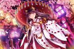1girl :> bangs bell blue_eyes blush cherry_blossoms closed_mouth cup dutch_angle hakama haruka_natsuki headpiece holding holding_umbrella japanese_clothes jingle_bell lantern long_hair looking_at_viewer miko oriental_umbrella original outdoors petals purple_hair ribbon_trim sakazuki shide smile solo standing umbrella wide_sleeves