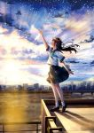 1girl arm_up black_hair black_skirt blush brown_shoes clouds cloudy_sky evening floating_hair from_side highres kazuharu_kina light_rays loafers long_hair neckerchief original outdoors parted_lips pleated_skirt profile school_uniform serafuku shoes short_sleeves skirt sky socks solo standing star_(sky) starry_sky sunbeam sunlight white_legwear wind