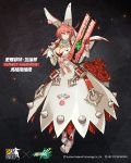 1girl animal_ears bangs blue_eyes breasts character_name cleavage closed_mouth crossover dress elphelt_valentine embers flower full_body girls_frontline guilty_gear guilty_gear_xrd gun hairband hand_on_own_chest hands_up highres holding holding_gun holding_weapon large_breasts looking_at_viewer pink_hair red_flower red_rose rose short_hair shotgun smile solo spiked_hairband standing swept_bangs weapon white_dress zagala