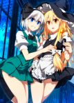 2girls ahoge apron aqua_skirt bangs black_bow black_bowtie black_hat black_legwear black_skirt blonde_hair blue_eyes bow bowtie candle candlestand clenched_teeth commentary_request eyebrows_visible_through_hair frilled_apron frills hair_between_eyes hair_bow hand_on_another's_chest hat highres holding indoors kirisame_marisa kneehighs konpaku_youmu long_hair looking_at_viewer multiple_girls pleated_skirt puffy_sleeves sazanami_mio short_hair short_sleeves skirt skirt_set sleeveless tears teeth touhou waist_apron white_apron white_bow white_hair witch_hat yellow_eyes