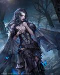 1girl armband bare_shoulders black_dress black_hair blue_eyes breasts butterfly cleavage cloak copyright_name corset dated dress forest fur gem hand_on_own_chest highres jeremy_chong jewelry long_hair looking_at_viewer medium_breasts mobius_final_fantasy nature necklace night outdoors purple_lips solo square_enix tiara tree watermark