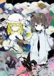 2girls anabone black_eyes blonde_hair brown_hair colorful expressionless hair_ribbon hat looking_at_viewer maribel_hearn mob_cap multiple_girls ribbon short_hair touhou usami_renko yellow_eyes
