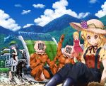 2boys 3girls aki_minoriko aki_shizuha black_legwear blonde_hair blue_eyes blue_hair brown_eyes closed_eyes clouds cloudy_sky day facing_another grapefruit green_hat hair_bobbles hair_ornament hat kawashiro_nitori looking_at_another mud multiple_boys multiple_girls outdoors pantyhose parted_lips ruu_(tksymkw) short_hair sin_sack sitting sky touhou