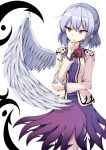 1girl absurdres bow bowtie chin_hold feathered_wings highres jacket kishin_sagume mimottei open_clothes open_jacket silver_hair single_wing solo thinking touhou white_wings wings