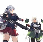 2girls :d :i armor bare_shoulders black_gloves black_legwear blush braid breasts dark_skin detached_sleeves duoyuanjun eating fingerless_gloves girls_frontline gloves grey_hair gun hair_ornament hair_ribbon hairclip half_updo large_breasts mossberg_m590_(girls_frontline) multiple_girls open_mouth pantyhose pleated_skirt pointing pout red_eyes ribbon shotgun shotgun_shells silver_hair single_glove skirt smile spas-12_(girls_frontline) sweat thigh-highs thigh_strap trigger_discipline weapon yellow_eyes