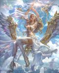 amulet armband bangs bird blonde_hair blue_eyes boots braid breasts cleavage clouds copyright_name dated day diadem dove earrings fingernails flying gem high_heels highres jeremy_chong jewelry levitation long_hair magic mobius_final_fantasy necklace outdoors outstretched_hand parted_lips ring signature sitting sky thigh-highs thigh_boots very_long_hair