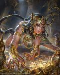 1girl absurdres all_fours amulet animal_ears armband armlet bastet braid breasts cat_ears cat_mask cleavage coin collar copyright_name dated dutch_angle earrings egypt eye_of_horus facial_mark gem gold green_eyes hair_ornament hairband highres indoors jeremy_chong jewelry long_hair mobius_final_fantasy nose_piercing parted_lips piercing pillar pot ring spaulders tail temple very_long_hair watermark whisker_markings