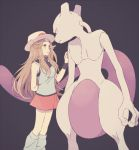 1girl arm_behind_back blue_(pokemon) brown_eyes brown_hair eye_contact hat komasawa_(fmn-ppp) long_hair looking_at_another mewtwo miniskirt pokemon pokemon_(creature) pokemon_(game) pokemon_frlg porkpie_hat red_skirt shirt skirt sleeveless sleeveless_shirt socks wristband