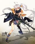1girl ahoge blue_legwear boots character_name copyright_name full_body girls_frontline gun hair_between_eyes highres holding holding_gun holding_weapon holster jacket kneehighs long_hair machine_gun mismatched_footwear mismatched_legwear no_sense_of_shame official_art one_eye_closed open_clothes open_jacket parted_lips pkp_(girls_frontline) pkp_pecheneg shadow side_ponytail silver_hair single_kneehigh single_thighhigh solo standing standing_on_one_leg striped striped_legwear thick_eyebrows thigh-highs thigh_holster torn_clothes torn_jacket torn_legwear trigger_discipline tsurime vertical-striped_legwear vertical_stripes very_long_hair weapon yellow_eyes yellow_legwear