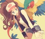 1girl archeops baseball_cap black_vest blue_eyes denim denim_shorts eye_contact hat high_ponytail komasawa_(fmn-ppp) leaning_forward looking_at_another open_mouth pokemon pokemon_(creature) pokemon_(game) pokemon_bw shirt shorts sleeveless sleeveless_shirt touko_(pokemon) vest white_shirt wristband