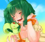 1girl ahoge ai-kun alien artist_request blush bob_cut closed_eyes dress green_hair highres macross macross_frontier pet ranka_lee vajra