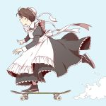 1girl apron blue_background blush brown_hair dust_cloud from_side full_body hair_bun hair_ornament hair_up hairclip highres maid maid_apron original profile shoes skateboard sneakers solo standing standing_on_one_leg suzushiro_(suzushiro333)