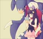 1girl beanie black_hair drifloon garchomp hair_ornament hairclip hand_on_own_chin handheld_game_console hat hikari_(pokemon) komasawa_(fmn-ppp) long_hair miniskirt nintendo_ds pink_skirt playing_games pokemon pokemon_(creature) pokemon_(game) pokemon_dppt poketch red_scarf scarf skirt sleeveless watch watch white_hat