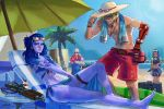 2boys 2girls apron beach beach_chair beach_umbrella dark_skin grilling grillmaster_76 highres lifeguard_mccree male_swimwear mccree_(overwatch) multiple_boys multiple_girls overwatch palm_tree purple_hair purple_skin radio sitting soldier:_76_(overwatch) sombra_(overwatch) sunglasses swim_trunks swimwear tan tree umbrella wallace_pires widowmaker_(overwatch)