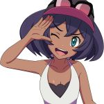 1girl ;d bare_shoulders baseball_cap blue_eyes blue_hair breasts cleavage dark_skin hat looking_at_viewer monosex one_eye_closed open_mouth pokemon pokemon_(game) pokemon_sm shirt short_hair sina_(pokemon) sleeveless sleeveless_shirt smile solo upper_body