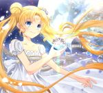 1girl bare_shoulders bishoujo_senshi_sailor_moon blonde_hair blue_eyes bow castle closed_mouth crescent double_bun dress facial_mark flower forehead_mark hair_flower hair_ornament iroha_(shiki) long_hair maboroshi_no_ginzuishou princess_serenity rose smile solo tsukino_usagi twintails white_bow white_dress white_rose