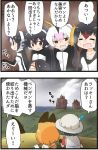 2koma 6+girls backpack bag black_hair bucket_hat comic emperor_penguin_(kemono_friends) from_behind gentoo_penguin_(kemono_friends) hat hat_feather humboldt_penguin_(kemono_friends) kaban_(kemono_friends) kemejiho kemono_friends multiple_girls penguins_performance_project_(kemono_friends) profile rockhopper_penguin_(kemono_friends) royal_penguin_(kemono_friends) serval_(kemono_friends) serval_print short_hair sweat translation_request