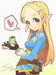 1girl animal blonde_hair braid forehead french_braid frog gloves green_eyes hair_ornament hairclip heart holding holding_animal io_naomichi long_hair looking_at_viewer pointy_ears pouch princess_zelda sidelocks simple_background smile solo spoken_heart the_legend_of_zelda the_legend_of_zelda:_breath_of_the_wild thick_eyebrows turtleneck