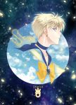 1girl bishoujo_senshi_sailor_moon blonde_hair blue_background blue_choker blue_eyes blue_sailor_collar bow brooch character_name closed_mouth earrings from_side jewelry looking_at_viewer magical_girl nickii25 profile sailor_uranus short_hair smile solo ten'ou_haruka uranus_symbol yellow_bow