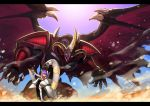 1girl dragon duel_monster fate/grand_order fate_(series) helena_blavatsky_(fate/grand_order) horns nkmr8 parody purple_hair red_dragon_archfiend short_hair solo ticket vehicle yu-gi-oh! yuu-gi-ou_5d's
