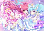 2girls :d animal_ears bare_shoulders bent_over blue_eyes blue_hair blue_legwear blush boots bow breasts cat_ears cat_tail choker commentary_request crown detached_collar eyebrows_visible_through_hair fang flat_chest food_themed_hair_ornament frilled_legwear frilled_sleeves frills gradient_hair hair_ornament heart heart_hands heart_hands_duo heterochromia high-waist_skirt kamishiro_piyo knees_together_feet_apart long_hair looking_at_viewer magical_girl medium_breasts mini_crown mismatched_legwear multicolored_hair multiple_girls open_mouth original outstretched_arm parted_lips pink_bow polka_dot polka_dot_legwear puffy_short_sleeves puffy_sleeves purple_hair purple_legwear redhead sailor_collar short_sleeves skirt smile sparkle star strawberry_hair_ornament tail thigh-highs two_side_up very_long_hair violet_eyes wand white_boots white_legwear wrist_cuffs yellow_eyes