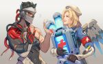 /\/\/\ 1boy 1girl :d alternate_costume alternate_hairstyle armband artist_name beret biceps black_gloves black_hair blackwatch_genji blonde_hair blue_bodysuit bodysuit cable closed_eyes combat_medic_ziegler covered_mouth cyborg emblem eyelashes genji_(overwatch) gloves gradient gradient_background hands_up hat headpiece highres holding lips logo long_sleeves looking_at_another makeup mascara mask mechanical_wings mercy_(overwatch) nose open_mouth overwatch pink_lips red_eyes sae_(revirth) short_hair smile spiky_hair sweatdrop teeth upper_body upper_teeth vambraces white_hat wings