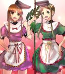 2girls artist_request bamboo dress green_eyes headwear highres multiple_girls nishida_satono red_eyes teireida_mai touhou