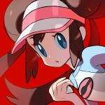 1girl :o absurdres blue_eyes brown_hair double_bun face hair_bun highres looking_at_viewer mei_(pokemon) open_mouth poke_ball pokemon pokemon_(game) pokemon_bw2 red_background shirt simple_background solo tokiya twintails visor_cap