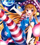 1girl :d american_flag_dress american_flag_legwear bangs blonde_hair blush breasts clownpiece dress earth eyebrows_visible_through_hair fairy fairy_wings hat holding jester_cap kodamahikarigo legs_up long_hair looking_at_viewer neck_ruff open_mouth outstretched_arm pantyhose print_legwear reclining sample short_dress short_sleeves sidelocks sky small_breasts smile solo star star_(sky) star_print starry_sky striped striped_legwear torch touhou traditional_media very_long_hair violet_eyes wings