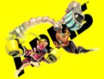 2girls arms_(game) bracelet chilla_(arms) dark_skin domino_mask drill_hair eye_contact fighting highres jewelry looking_at_another mask multiple_girls nintendo official_art ribbon_girl_(arms) shorts_under_skirt skirt smile sparky_(arms) twin_drills twintails twintelle_(arms) yellow_background