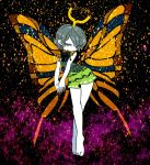 1girl antennae bare_arms bare_legs barefoot butterfly_wings dress eternity_larva eyebrows_visible_through_hair eyes_visible_through_hair gradient gradient_background grey_hair half-closed_eyes head_tilt leaf looking_away multicolored multicolored_clothes multicolored_dress outstretched_arms pollen short_hair slit_pupils solo tiptoes touhou visible_ears wide_hips wings yellow_eyes yt_(wai-tei)