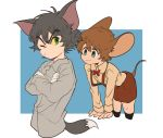 2boys animal_ears blue_eyes bow bowtie brown_hair cat_ears cat_tail gloves green_eyes grey_hair jerry_(tom_and_jerry) mouse_ears mouse_tail multiple_boys one_eye_closed personification shirt smile tail tom tom_and_jerry white_gloves yellow_sclera