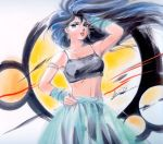 1girl 80s aqua_eyes arm_up ayukawa_madoka black_hair contrapposto cowboy_shot eating floating_hair hand_on_head hand_on_hip highres jewelry kimagure_orange_road long_hair looking_at_viewer midriff necklace official_art oldschool open_mouth skirt solo takada_akemi traditional_media watercolor_(medium)