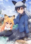 2girls animal_ears black_hair black_legwear blush closed_mouth eyebrows_visible_through_hair ezo_red_fox_(kemono_friends) fox_ears fox_tail highres kemono_friends long_hair looking_at_viewer multicolored_hair multiple_girls orange_eyes orange_hair pantyhose parted_lips ponpo silver_fox_(kemono_friends) smile tail two-tone_hair white_hair